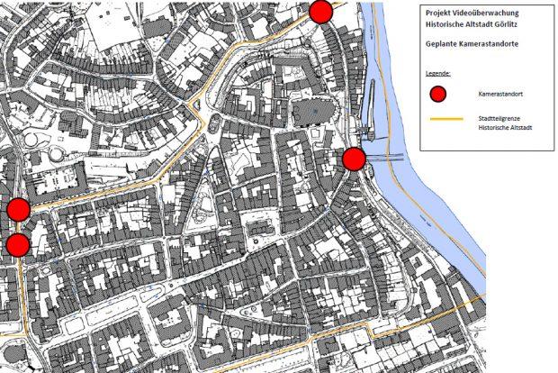 Die geplanten Kamerastandorte in Görlitz. Grafik: Polizeidirektion Görlitz