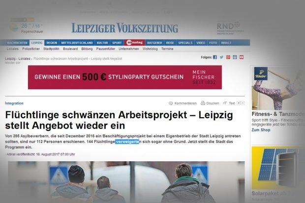 Die Schlagzeile der LVZ. Screenshot: L-IZ