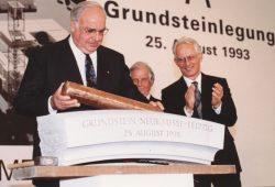 Hinrich Lehmann-Grube bei der Grundsteinlegung der neuen Leipziger Messe mit Alt-Bundeskanzler Helmut Kohl 1993. Foto: Leipziger Messe