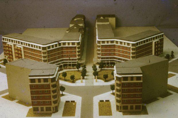 Experimentalbauvorhaben Innere Westvorstadt, Dorotheenplatz. Modellfoto, um 1984, Büro des Chefarchitekten. Foto: Stadtarchiv Leipzig