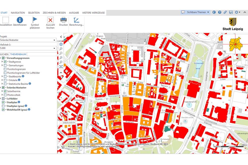 Ausschnitt aus dem Solardachkataster der Stadt Leipzig. Screenshot: L-IZ