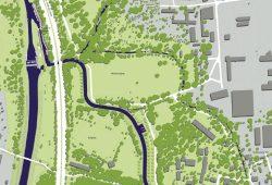 """Beginn der """"Wasserschlange""""an der Mönchereischleuse. Karte: Kommunales Forum Südraum Leipzig"""