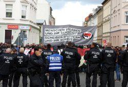 """Blieb übrigens friedlich. """"Die"""" Antifa war bereits am 2. September 2017 schon einmal in Wurzen. Foto: L-IZ.de"""