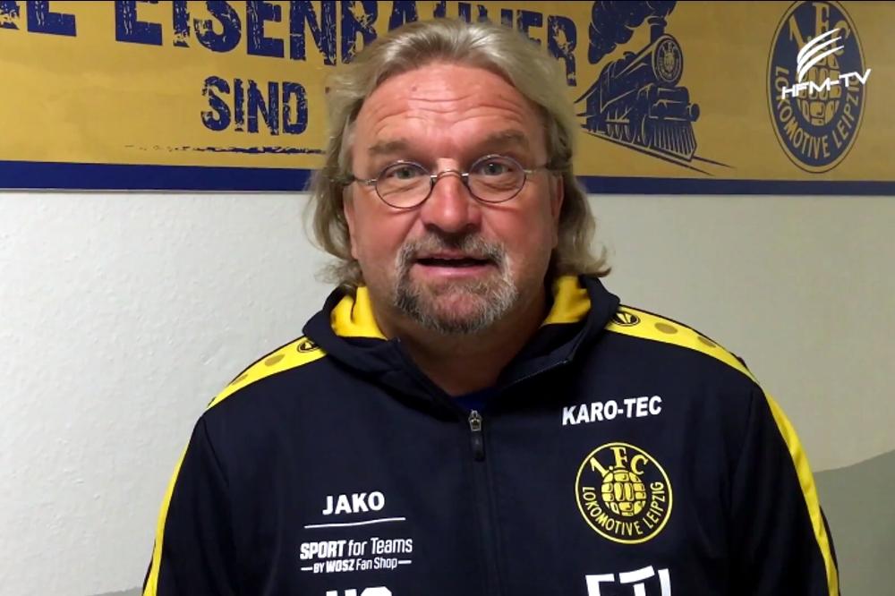 Lok-Trainer Heiko Scholz ruft ganz persönlich zur Unterstützung der SG LVB auf. Das Benefizspiel am Freitag. Foto: Screen Heimspiel TV
