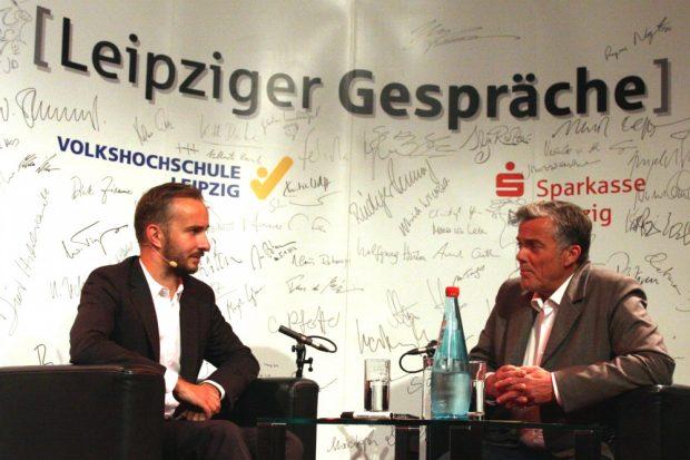 Jan Böhmermann und Thomas Bille im Gespräch. Foto: L-IZ.de