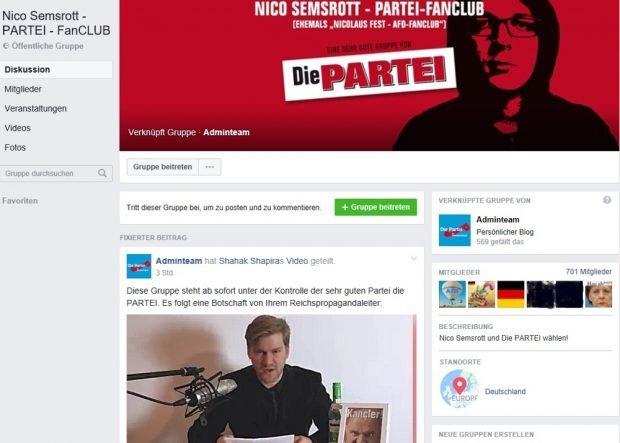 Nico Semsrott steht nun anstelle von Nicolaus Fest (AfD) zur Wahl. Screenshot Facebookgruppe Die PARTEI
