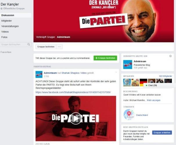 """So oder ähnlich sahen heute auf einmal 31 Gruppenseiten bei Facebook aus: Die Machtübernahme der PARTEI. Screen PARTEI-Gruppe """"Der Kancler"""" - vormals """"Der Koran"""""""