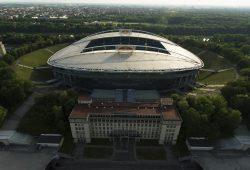 Luftbild der Red Bull Arena in Richtung Westen: © RB Leipzig