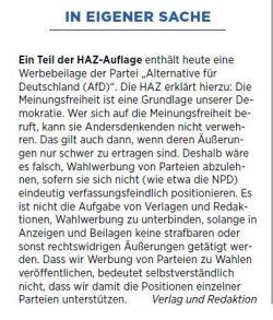 Erklärung der HAZ zur Wahlwerbung der AfD. Screen: HAZ, Samstagsausgabe 16.09.2017
