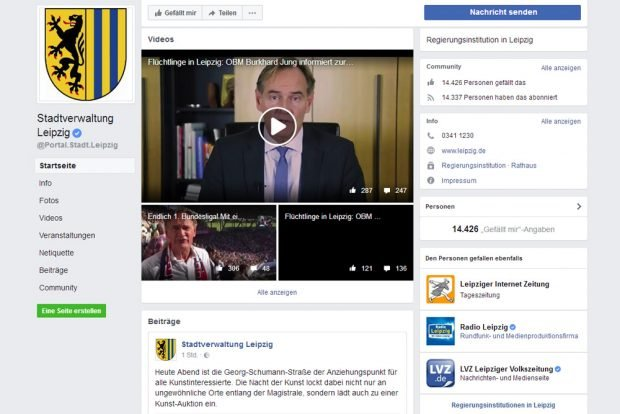 Facebook-Auftritt der Stadt Leipzig. Screenshot: L-IZ