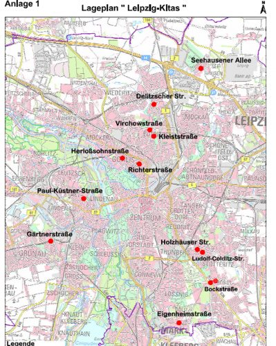 "Standorte der geplanten 13 ""Leipzig-Kitas"". Karte: Stadt Leipzig"