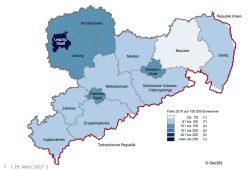 Wohnungseinbruchdichte in Sachsen. Grafik: Freistaat Sachsen, Polizeiliche Kriminalstatistik 2016