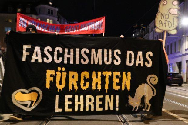 Fronttransparent der Deomonstration in diesem Jahr. Foto: L-IZ.de