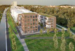 Künftiger Blick von Tankstelle Lützner Str. auf das neue Wohngebiet Lindenauer Hafen. Quelle: vectorvision