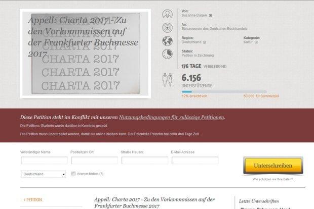 Die Petition. Screenshot: L-IZ