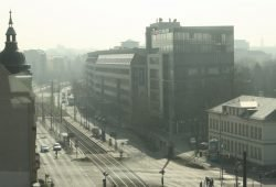 Blick über die Prager Straße Richtung Südosten. Foto: Ralf Julke