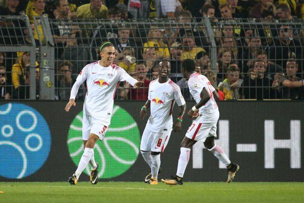 Yussuf Poulsen bejubelt seinen Treffer zum 2:1. Foto: GEPA Pictures