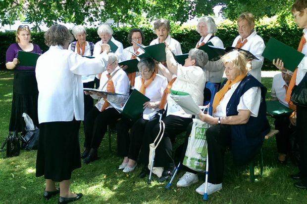 """Der Chor """"Lied der Heimat"""" bei einem Auftritt in Reichenbach. Foto: privat"""
