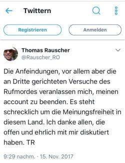 Der Abschied von Thomas Rauscher. Screen Twitter
