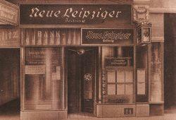 Die NLZ fand Ende November 1932 den Mut, eine Streitschrift zu drucken, die sich deutlich gegen die NSDAP wandte. Filiale der NLZ auf der Petersstraße. Foto: NLZ (Bilderwoche, 1926)