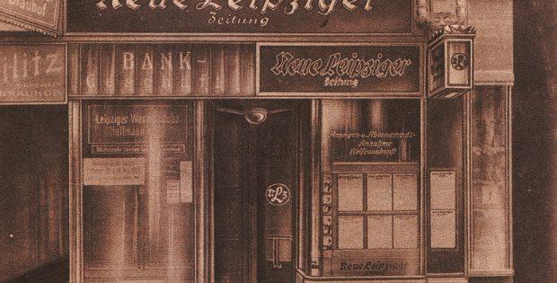 Die neue City-Filiale der Neuen Leipziger Zeitung auf der Petersstraße. Foto: NLZ (Bilderwoche, 1926)