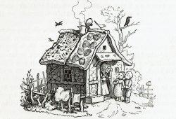 """Hexenhaus aus dem """"Märchenbuch"""" von Ludwig Bechstein, 1853, Sammlung Vogel. Foto: SGM"""