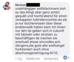 Selbstjustiz im Netz. Bei Facebook deutet jemand an, Wölfe selbst töten zu wollen, 5 weiteren gefällt das. Screen Facebook