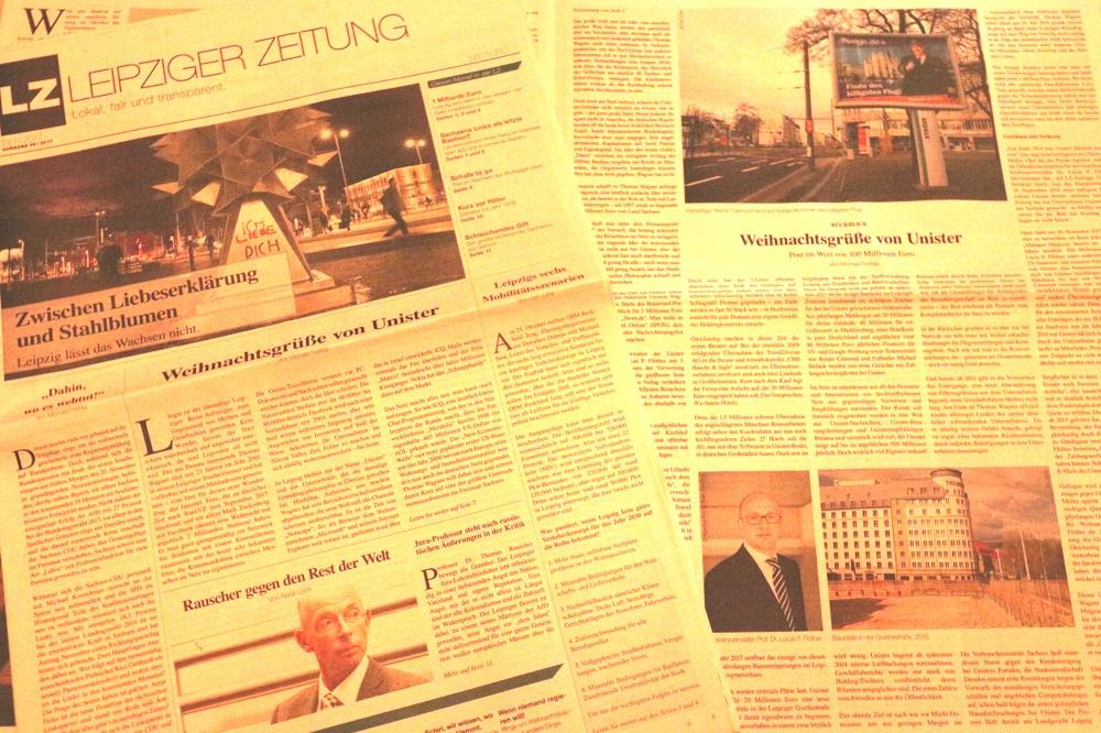 Unister in der LEIPZIGER ZEITUNG (Ausg. November 2017) mit einer langen Reportage. Foto: L-IZ.de
