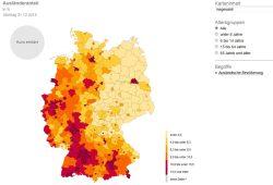 Ausländeranteil in der Bundesrepublik 2015. Grafik: Bundesamt für Statistik