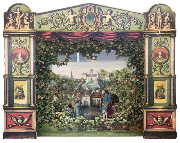 Papiertheater Dornröschen, 1870 Die spielbereite Bühne besteht aus 12 Einzelteilen. Im Bühnenkasten sind alle erforderlichen Kulissenhalterungen untergebracht. Foto: Stadtgeschichtliches Museum Leipzig
