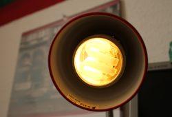 Energiesparlampe im Einsatz. Foto: Ralf Julke