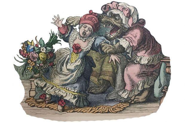 """Szene aus """"Rotkäppchen Münchener Bilderbogen"""", 1892. Foto: Stadtgeschichtliches Museum Leipzig"""