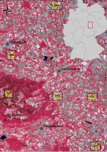 Die sechs Untersuchungsstandorte in Mitteldeutschland Foto: UFZ, Bildquelle: Landsat 5 TM, Falschfarbenbild). Plos ONE 12(10): e018559