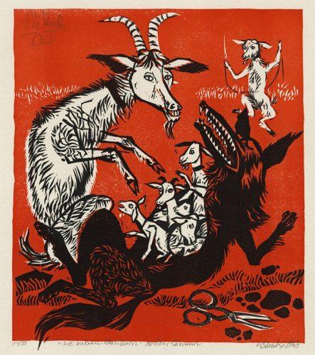 """Werner Schinko: Die sieben Geißlein, Farbholzschnitt, 1968. Entwurf für Titelbild der pädagigischen Fachzeitschrift """"Die Unterstufe"""". Leihgabe: Barbara Schinko"""