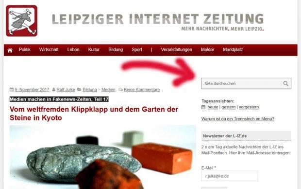 Die Suchfunktion der L-IZ. Screenshot: L-IZ