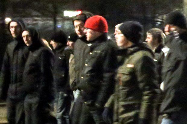 Legida marschiert am 16.02.2015 in Leipzig. Enrico Böhm will zu dieser Zeit in Bayern gewesen sein. Foto: L-IZ.de