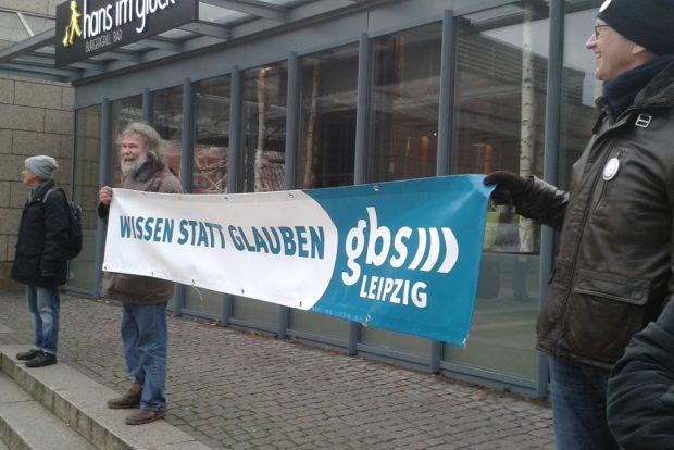 Protest gegen die Unikirche. Foto: René Loch