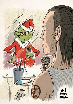 Der Grinch. Karikatur: Schwarwel