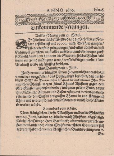 """Titelseite der """"Einkommenden Zeitungen"""" von 1650. Foto: DNB"""