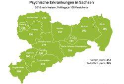 Psychische Erkrankungen 2016 in Sachsen. Grafik: Barmer Gesundheitsreport 2017