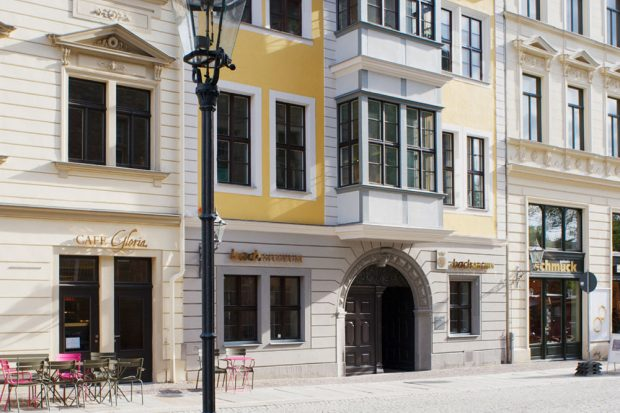 Das barocke Bosehaus am Leipziger Thomaskirchhof, Heimstatt des Bach-Archivs Leipzig mit dem Bach-Museum. Foto: Bach-Museum Leipzig/Jens Volz