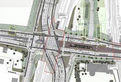 Der Auszug aus dem Gestaltungsplan der Stadt Leipzig zeigt das überdimensionierte Kreuzungsbauwerk. Grafik: Stadt Leipzig