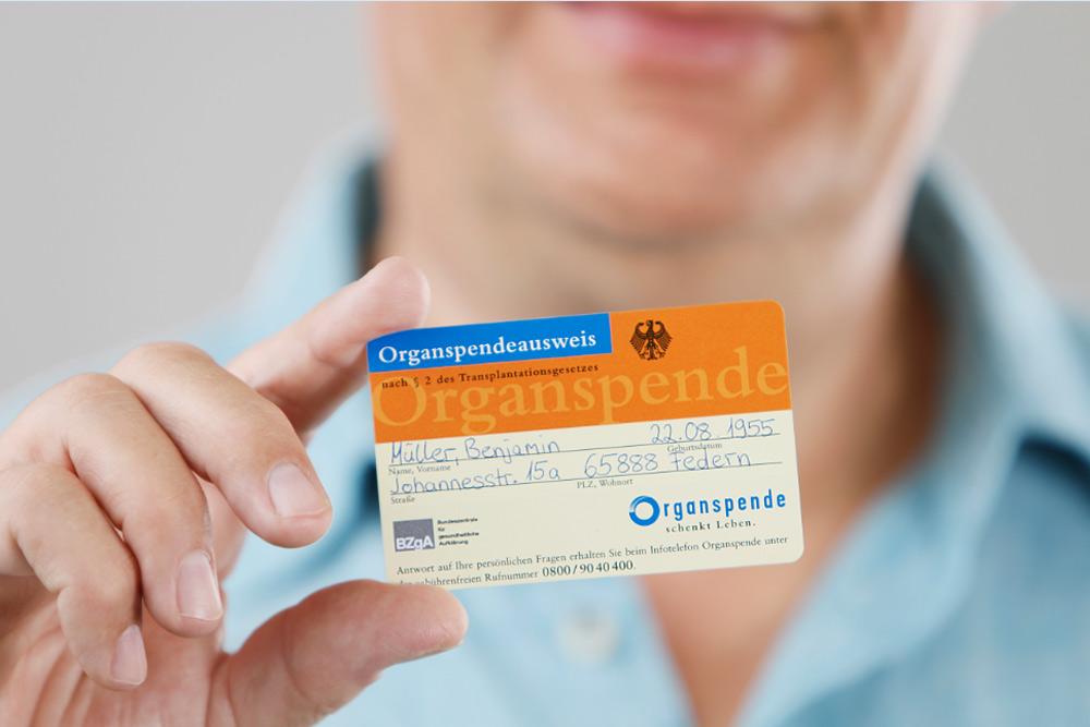 Kampagnenmotiv für den Organspenderausweis. Foto: BZgA/Hardy Welsch