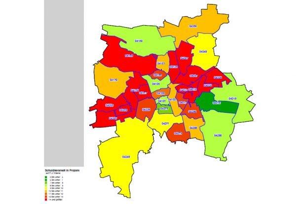 Überschuldungsquoten in Leipzig 2017. Grafik: Creditreform