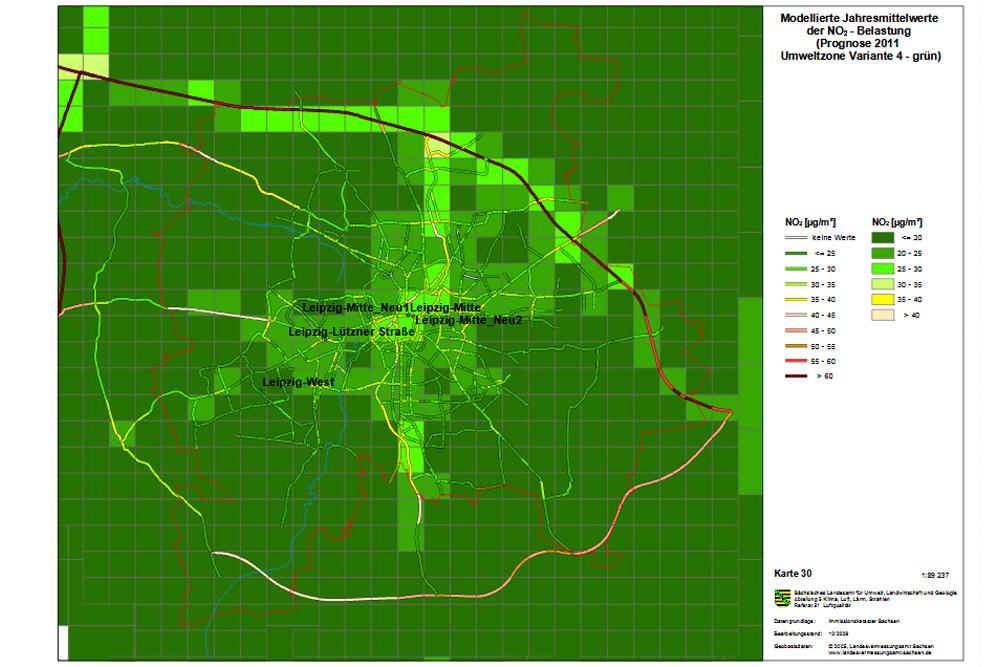Der Traum von 2009: bis 2011 bei Stickoxid alles im Grünen Bereich. Grafik: Stadt Leipzig
