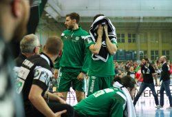 Enttäuschung beim SC DHfK über die schmerzhafte Niederlage gegen Magdeburg. Foto: Jan Kaefer