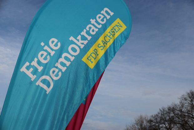 Die Fahne der Liberalen flattert im Wind. Kommt die FDP 2019 wieder in den Landtag Sachsen? Foto: Michael Freitag