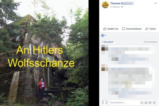 Siegbert Droese steht neben der Wolfsschanze. Screenshot: Facebook