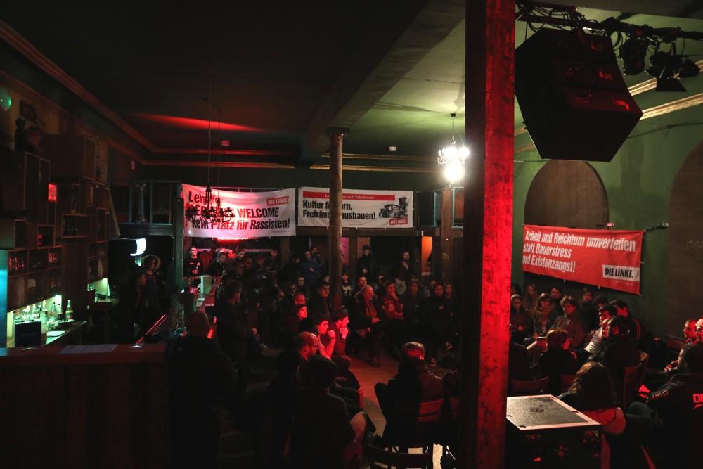 Erstes Treffen in der neuen Veranstaltungsreihe der Leipziger Linken am 15.12.2017, damals mit Katja Kipping. Nun folgt Sahra Wagenknecht am 22.02.2018 im Felsenkeller. Foto: L-IZ.de