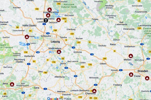 Giftmüll auf Abwegen: Die betroffenen Deponien rings um Leipzig, Halle, Dresden und Chemnitz. Map von Muellrausch.de